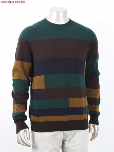 Pullover with horizontal intarsia stripes / Pullover mit Intarsia-Ringeln
