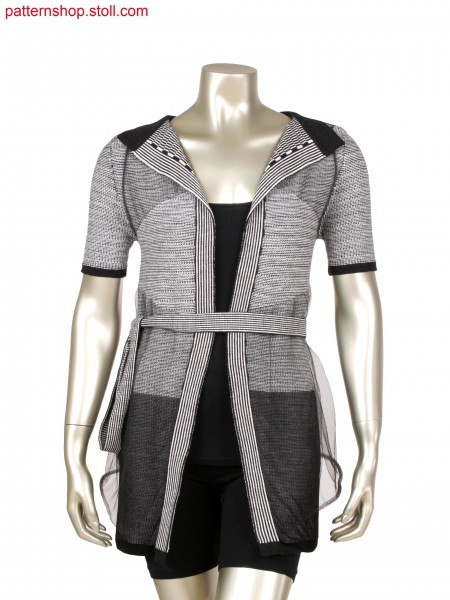 Fully Fashion jacket in 2 colour striped alternate knitting with integrated placket, layer technique in 2 and 3 layers