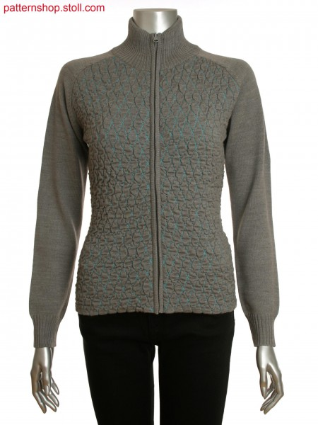 Fully Fashion women's zipped cardigan with 2 layered structure in padded optic on front