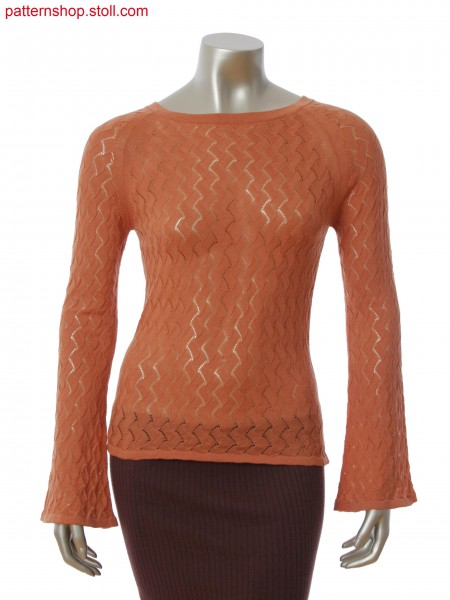Boat neck pullover with raglan sleeve and pointelle structure