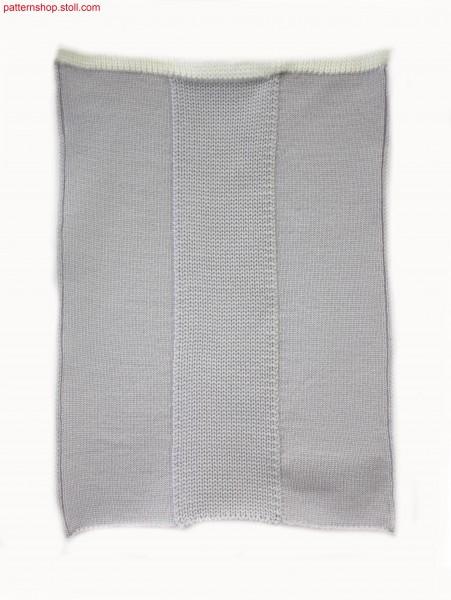 Knitted jersey fabric with three vertical intarsia stripes/ Rechts-Links Gestrick mit drei vertikalen Intarsia Streifen