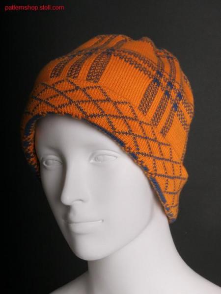 Cap with 3-colour tartan-jacquard design / M