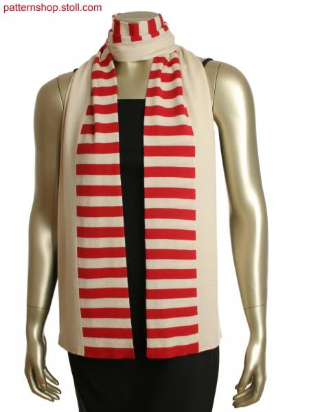 Tubular scarf, black and white stripes on front,solid black on other side