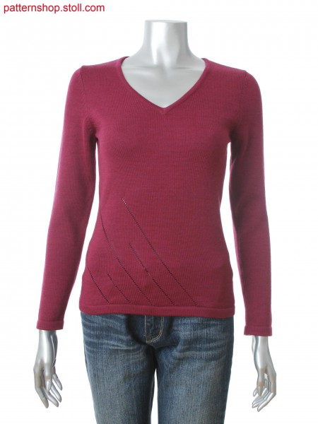 Fully Fashion women's V-neck pullover with pointelle structure