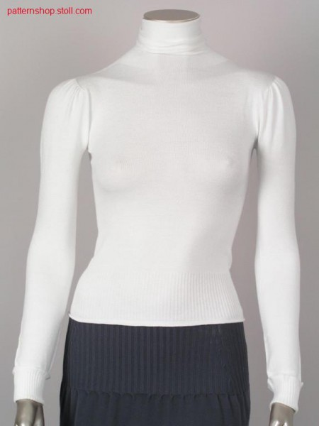 Fitted jersey pullover with puffed sleeves / Taillierter Recht-Links Pullover mit Puff