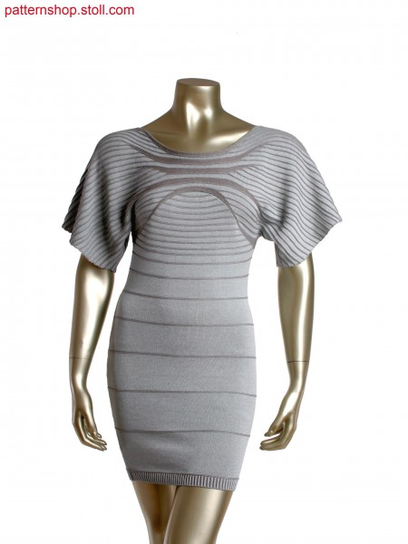 Fully Fashion plated dress in purl stripes, extreme gore technique, sleeves knitted in one piece