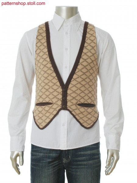 Fully Fashion waistcoat with 2-color cross tubular jacquard in 1x1 technique, integral insert pocket