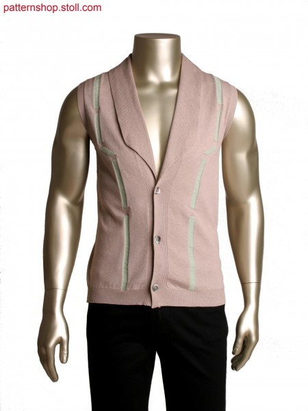 Stoll-multi gauges&reg at the back panel,Fully Fashion waistcoat with integrated lapel collar in 2x2 rib