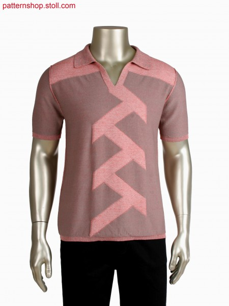 Fully Fashion plated reversible poloshirt, intarsia-jacquard and aran details