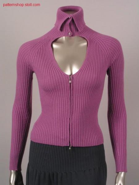 Fitted 2x2-rib raglan cardigan / Taillierte 2x2-Ripp Raglanstrickjacke