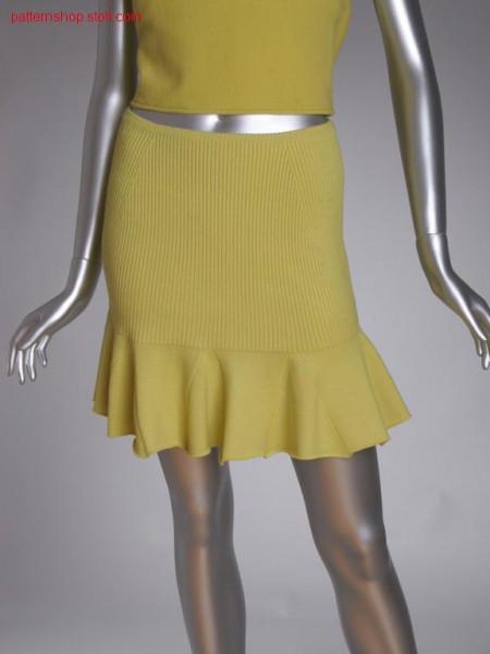 Fully fashion mini skirt in 2x2 rib with jersey flounce / Fully Fashion Minirock in 2x2 Rippe mit Rechts-Links Volant