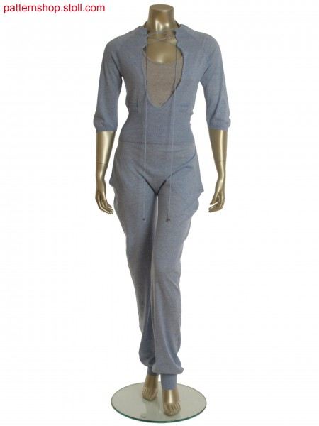 Fully Fashion catsuit with diagonal floating, integrated pocket and sleeve in gore technique.
