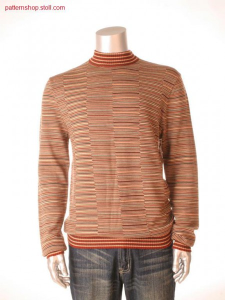 Jersey pullover with multi-colour intarsia stripes / Rechts-Links Pullover mit mehrfarbigen Intarsia-Ringeln