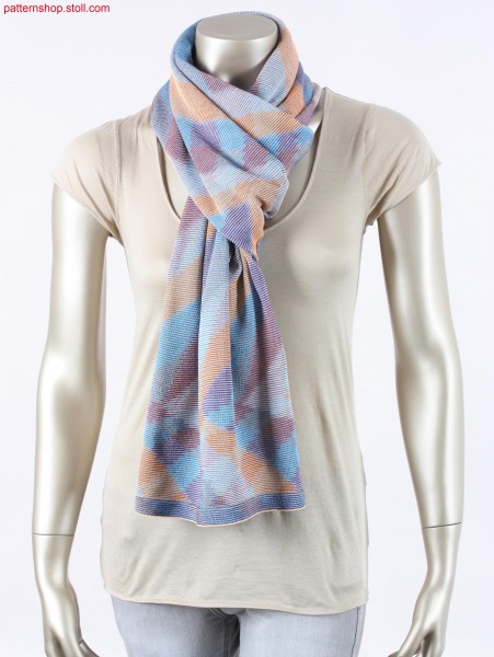 Foulard in inverse plated 2-system striped jersey / Foulard in wendeplattiertem, 2-System-geringeltem, Rechts-Links