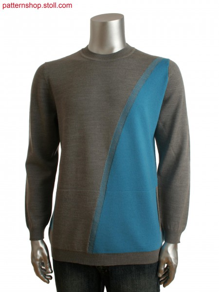Fully Fashion men's crew neck sweater with integrated kangaroo pockets and intarsia design on front