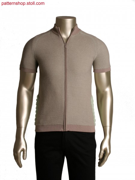 Fully Fashion jacket with short sleeves, 2 colour transferred structure stripe, layered structure detail