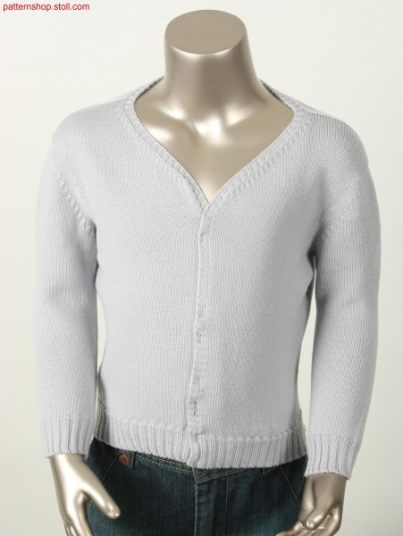 Jersey cardigan with French shoulder / Rechts-Links Strickjacke mit Franz