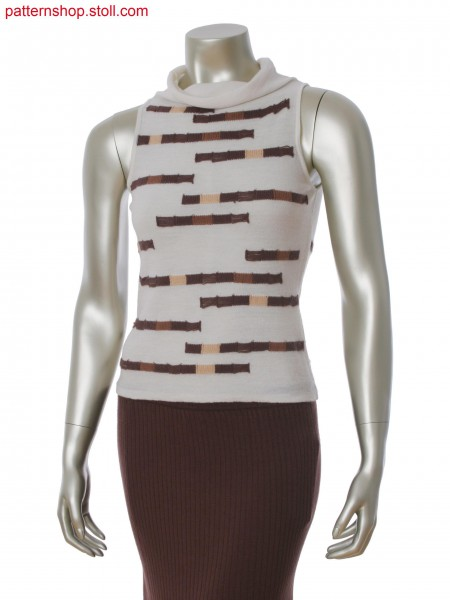 Fully Fashion top with 4 color intarsia stripes in tubular, float structure and integral turndown collar
