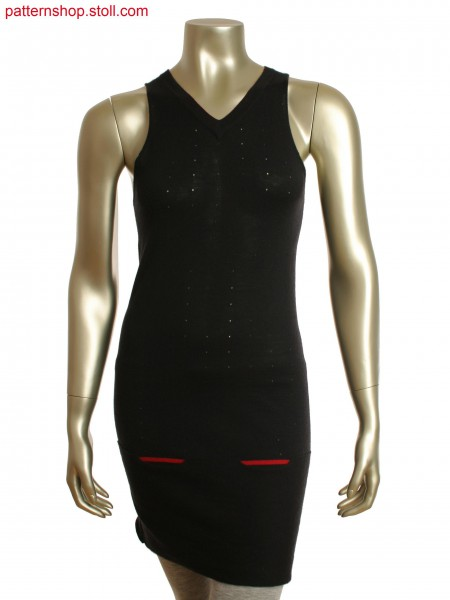 Fully Fashion V-neck long vest with single jersey,in armholes,straight shoulder