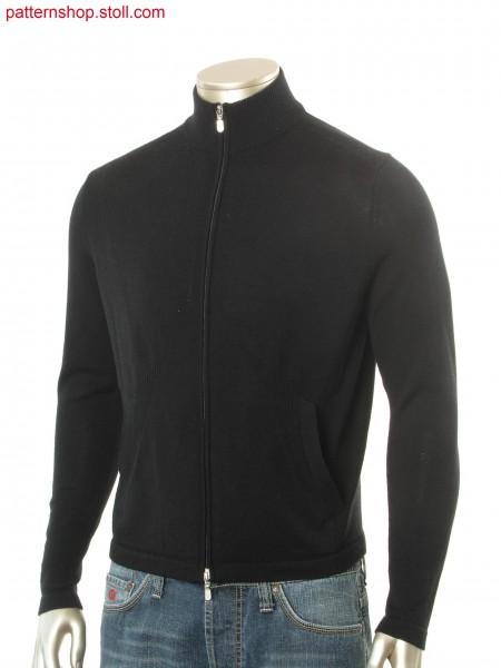 Fully Fashion cardigan with slant pocket, 2-color hering bone jacquard inside, body shaping by 2x2 rib.