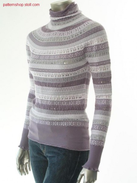 Ringed turtle-neck pullover in fair isle form / Geringelter Rollkragenpullover in Fair Isle Form