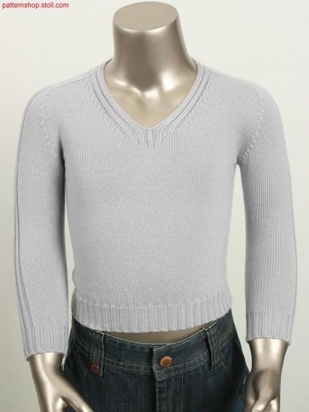 Rechts-Links Pullover mit Sattelschulter