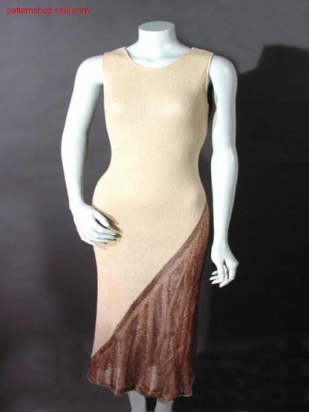 Jersey intarsia dress front part with 3-layers / Rechts-Links Intarsia Kleidvorderteil mit 3-Lagen