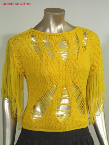 Top with crossed floats and frings / Top mit gekreuzten Flottf