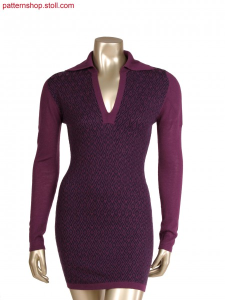 Fully Fashion dress with integrated collar placket in interlock structure, 2 colour float jacquard