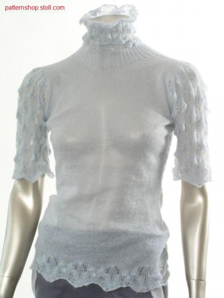 Fitted short-sleeved jersey pullover with puff sleeves / Taillierter Rechts-Links Kurzarmpullover mit Puff