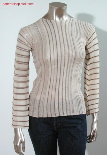 LL-Pullover with crew-neck, horizontal knitted