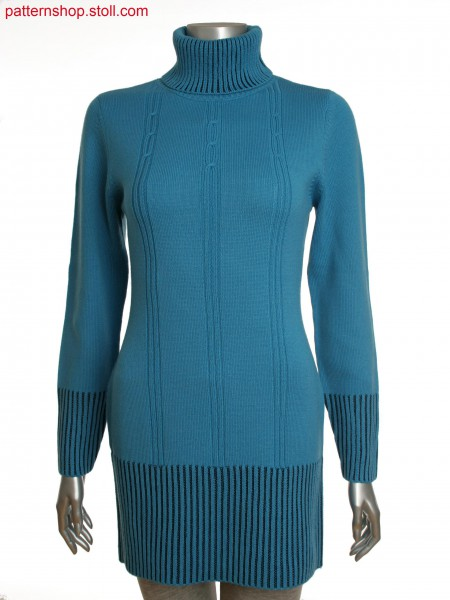 Fully Fashion women's long turtle neck pullover with cabledetail on front and two colored structure at trims