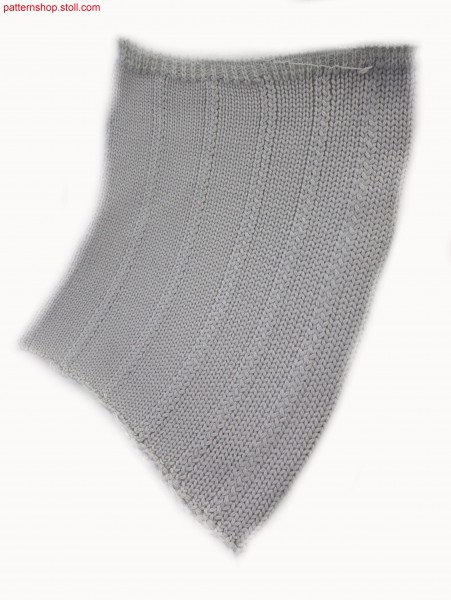 Knitted jersey fabric with six intarsia stripes / Rechts-Links Gestrick mit sechs Intarsia Streifen