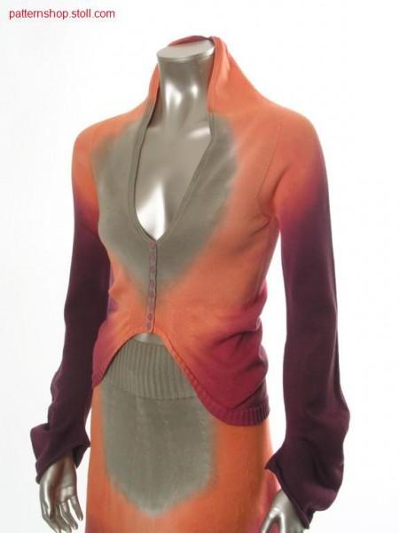 Jersey cardigan in tie-dye- and gore technique / Rechts-Links Strickjacke in Bandana- und Spickeltechnik