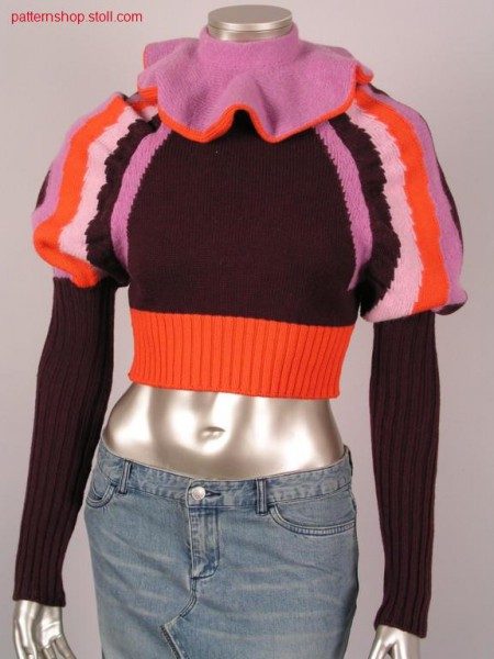 FF-intarsia jersey pullover with puffed sleeves / FF-IntarsiaRechts-Links Pullover mit Puff