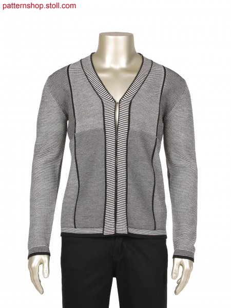 Fully Fashion jacket in 3 different gauge optics, 2 colourwoven effect structure, integrated placket