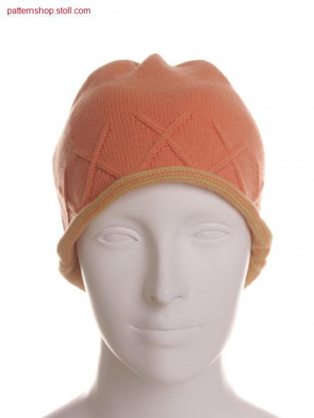 Fully Fashion jersey cap with aran and striped border / Fully Fashion Rechts-Links M