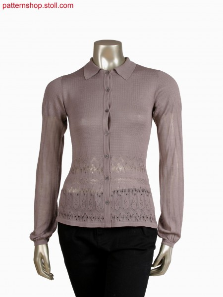 Fully Fashion blouse with pointelle structure and different ends, shaped polocollar in full rib structure