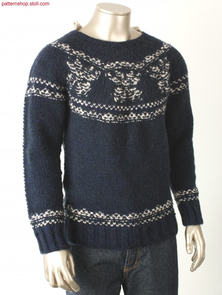 Jersey pullover with borders / Rechts-Links Pullover mit Bord