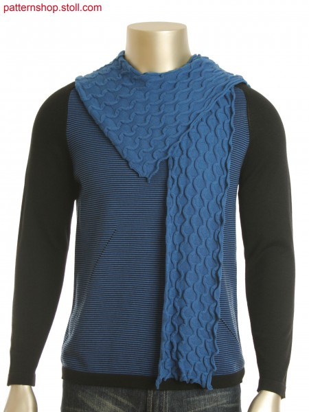 Single jersey scarf in alternate knitting and pique structure. Tandem technique.
