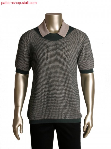 Fully Fashion top with tubular neckline,2 colour tuck structure stripe