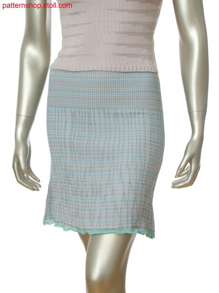 Fully Fashion plated skirt in rib structure and hem in cast off technique
