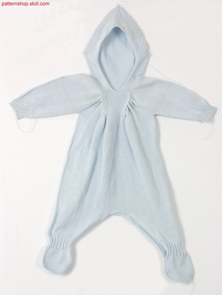 Jersey romper suit with knitted on feet / Rechts-Links Strampelanzug mit angestrickten F