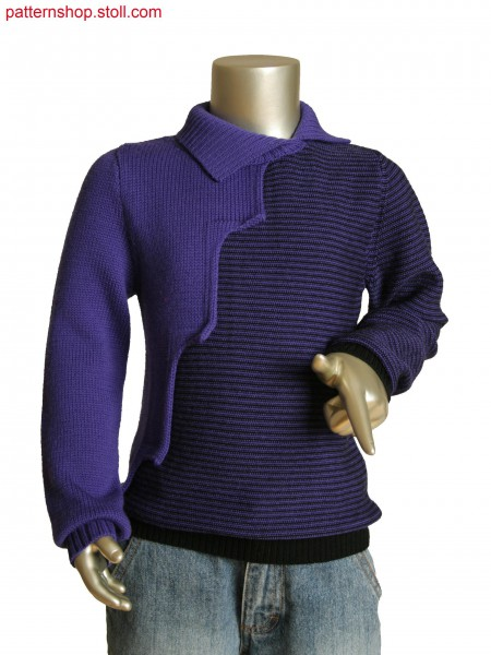 Stoll-multi gauges&reg Fully Fashion 2-color stripe kids pullover with overlapping intarsia