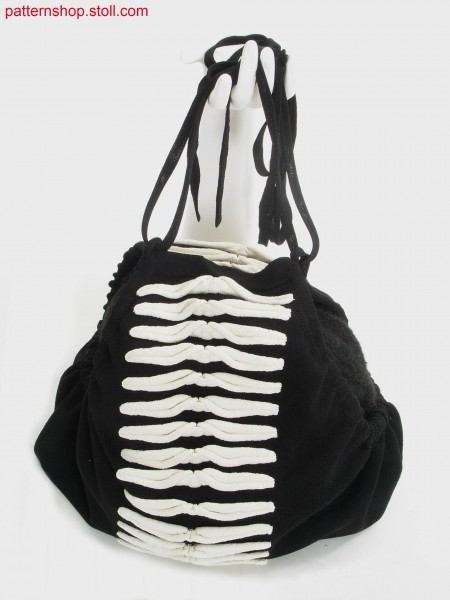 Jersey shoulder pouch with tubular borders / Rechts-Links Schulterbeutel mit Schlauchr