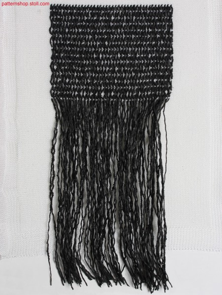 Swatch with fringes and purl edges / Musterauschnitt auf links gewendet mit Fransen