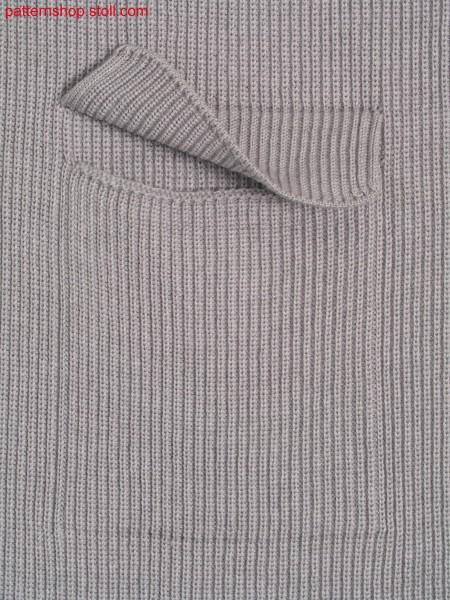 Half cardigan fabric in 1x1 technique with patch pocket / Perlfanggestrick in 1x1 Technik mit aufgesetzter Tasche
