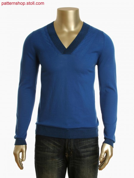 Fully Fashion V-neck pullover with interlock on the necklineand narrowing mark near it