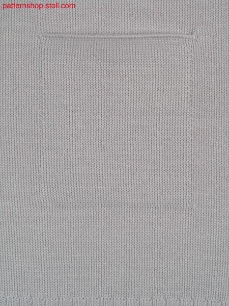 Jersey knitted fabric with patch pocket / Rechts-Links Gestrick mit aufgesetzter Tasche