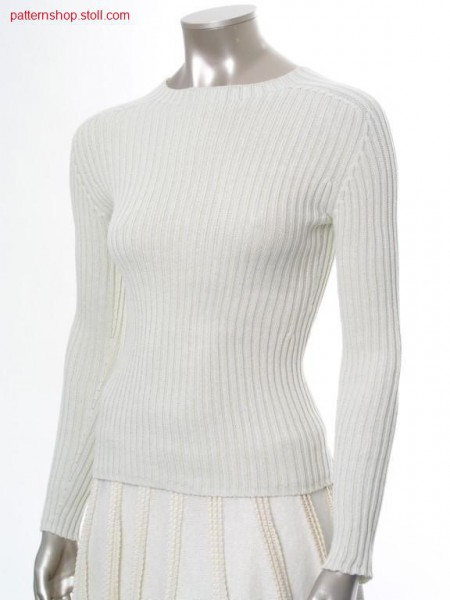 Fitted 2x2 rib pullover with saddle shoulder / Taillierter 2x2 Ripp Pullover mit Sattelschulter
